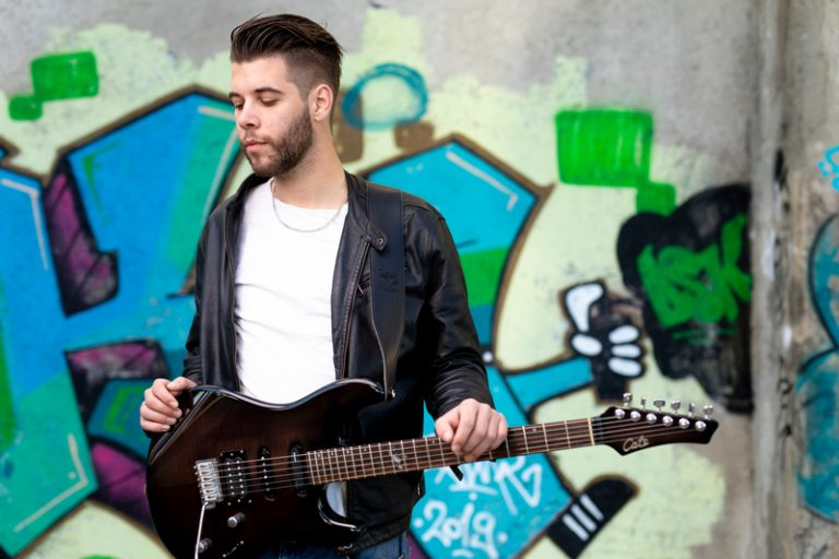 guitar player posing